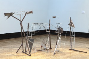 Sculpture in series of 5. Steel ,metals, paper