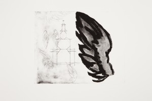Sized 'Lighthouse & Angels'.J.Randall.Etching & collograph. Edition of 5.